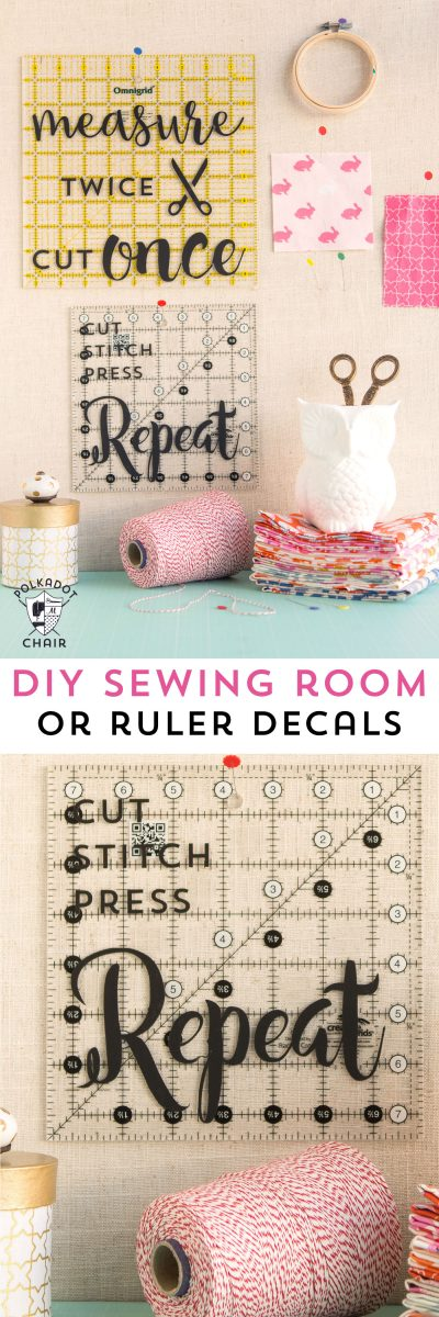 DIY Sewing and Quilting Decals for Quilt Rulers or to use as wall decor in a sewing room {includes link to free svg cut files}; cute sewing room decorating ideas
