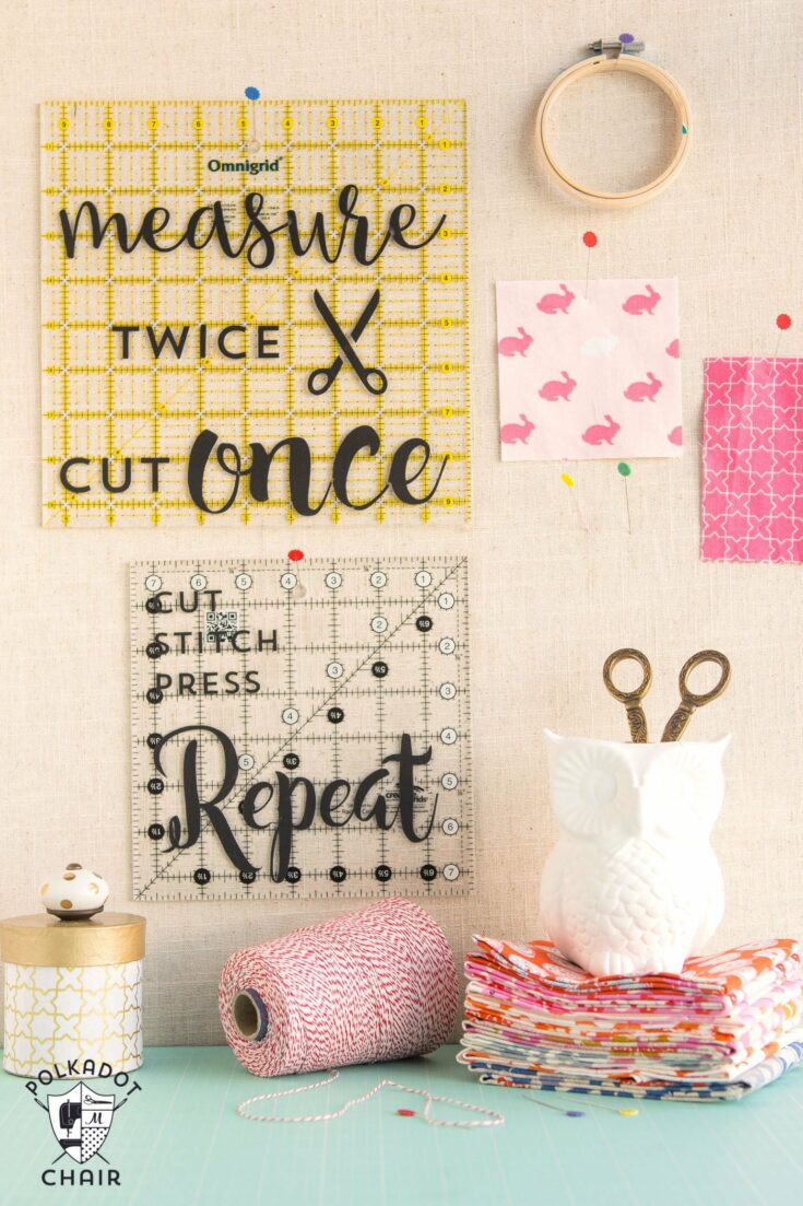 Decorated Quilt Rulers for Sewing Room Decor