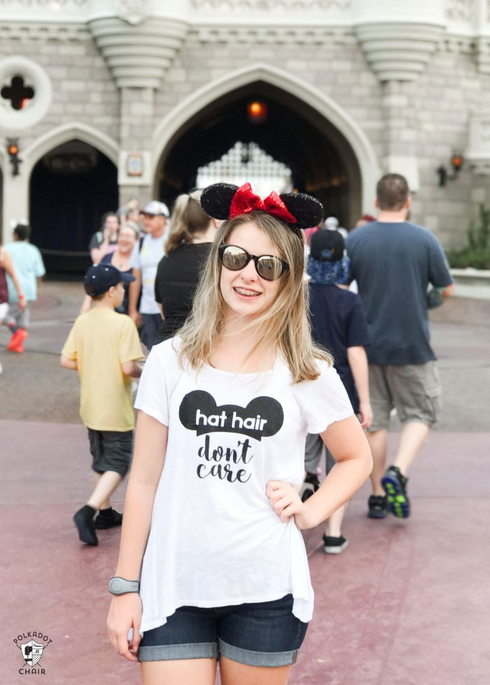 DIY Disney T-Shirt with free Cricut Cut file; Hat Hair Don't Care ! So cute and fun to wear to Disney World or Disneyland!