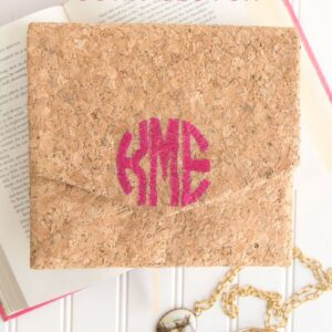Free sewing pattern for a DIY Monogrammed Cork Clutch on polkadotchair.com