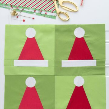 A quilting pattern for a Santa Hat Quilt block, would make a cute Christmas quilt or Christmas pillow!