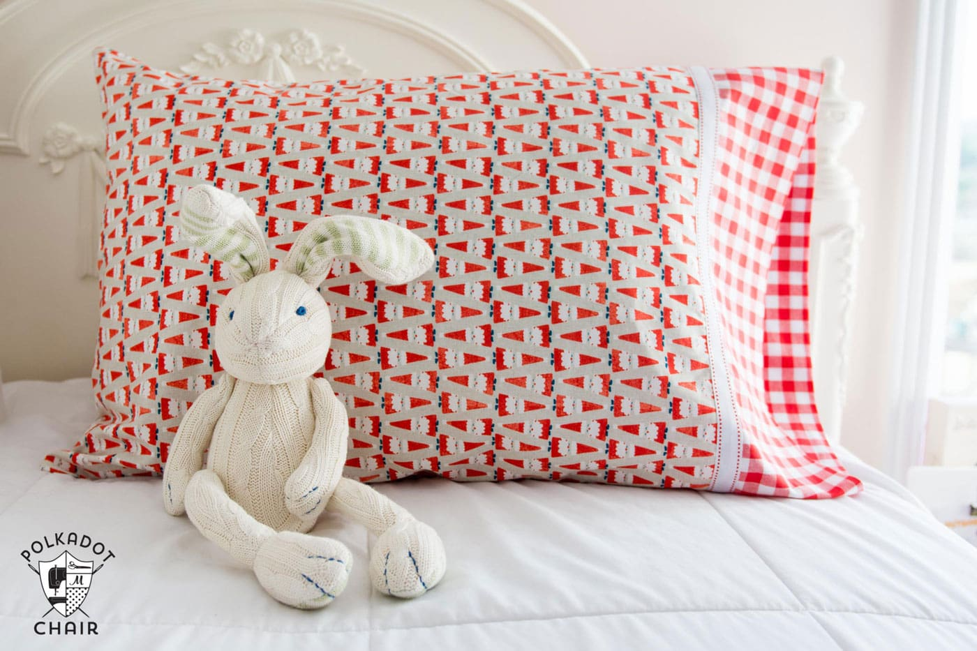 bunny and pillowcase on bed