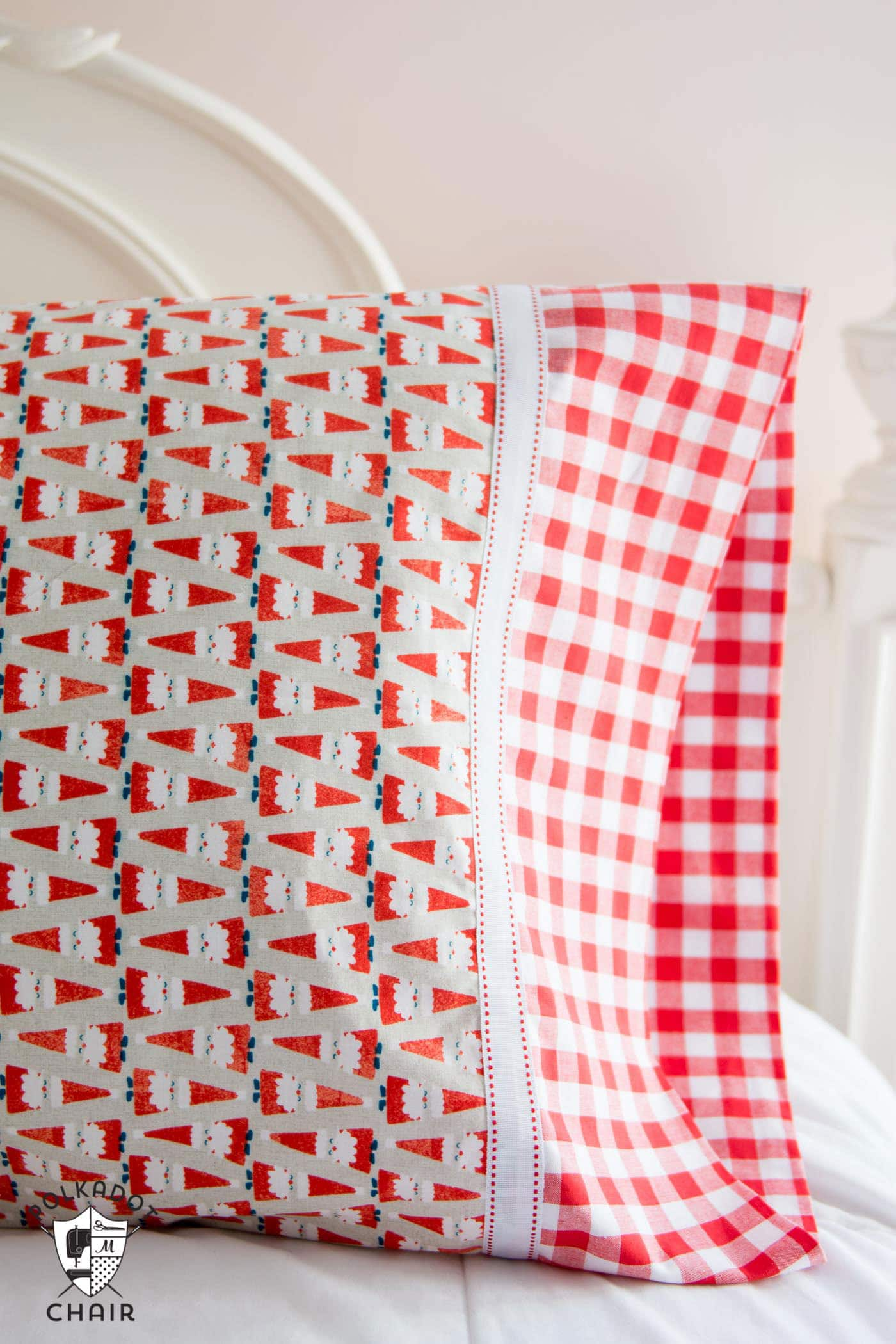 Pillowcase on bed, Christmas fabric