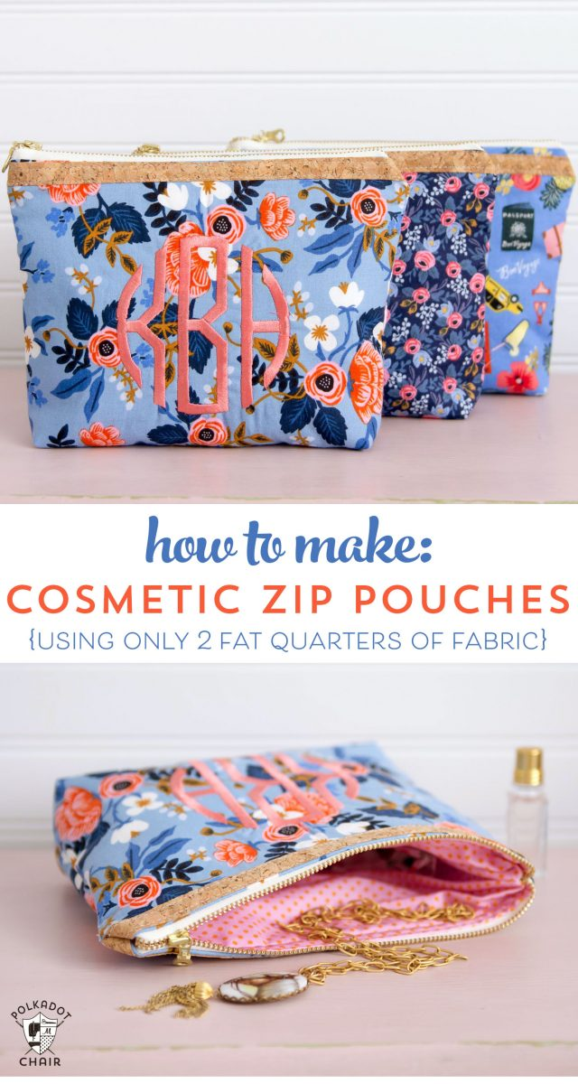 How to sew a cosmetic zippered pouch using only two fat quarters of fabric. Makes a great gift! A zip pouch sewing pattern.