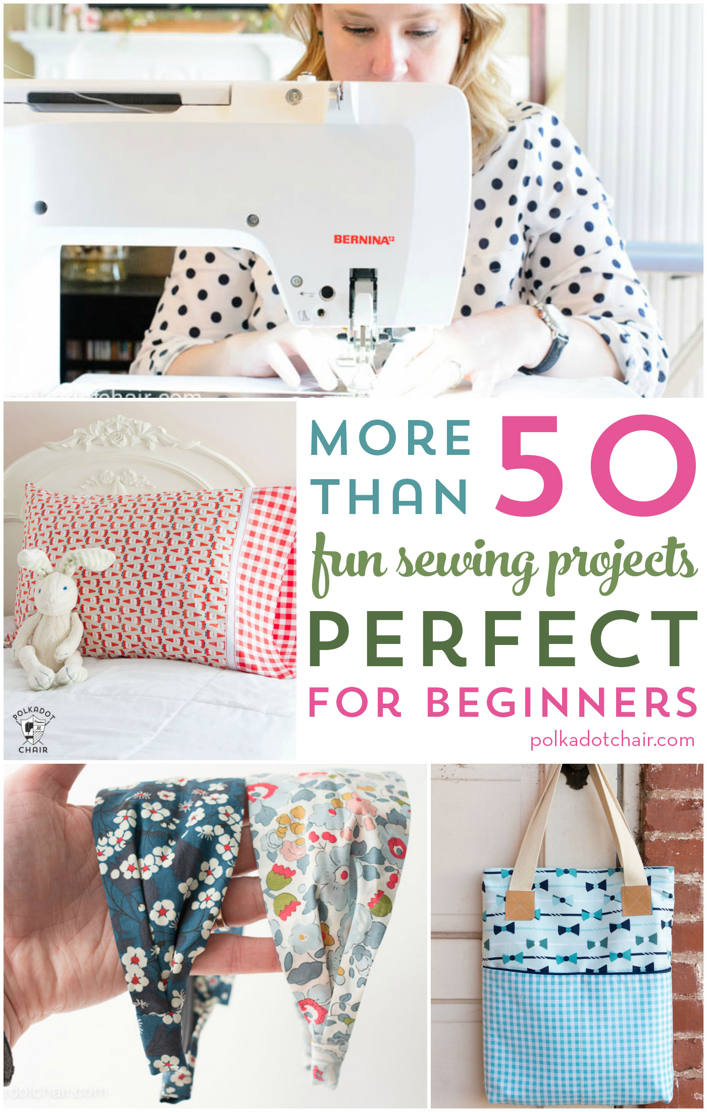 More than 50 Beginner Sewing Projects = from bags to clothes to accessories, there are so many cute things to sew on this list!