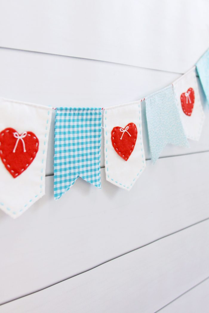 Stitched Heart Fabric Banner by Flamingo Toes