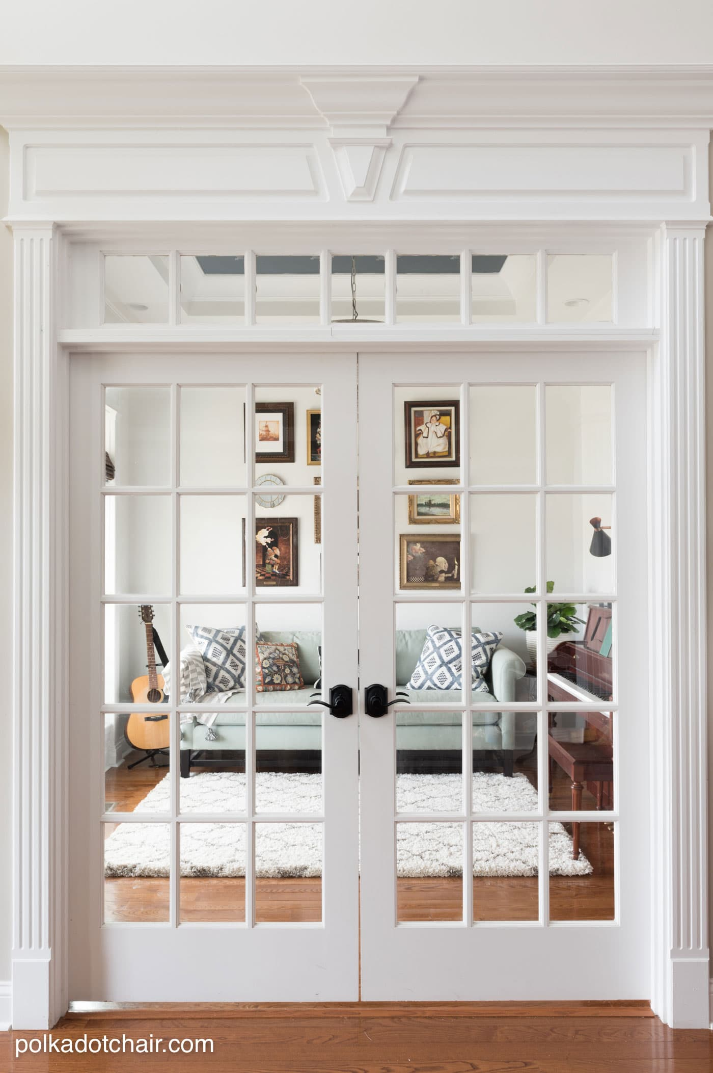 Learn how to easily change your door hardware and get lots of ideas for redecorating your home office or music room. Ideas for creating a gallery wall, a painted ceiling and lots of before and after photos!