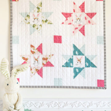 Wonderland; A free mini quilt pattern - would be so cute hung up as a decor in a Children's room - features Wonderland Fabric by Melissa Mortenson of polkadotchair.com