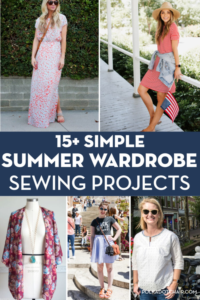 collage image of several summer dresses to sew