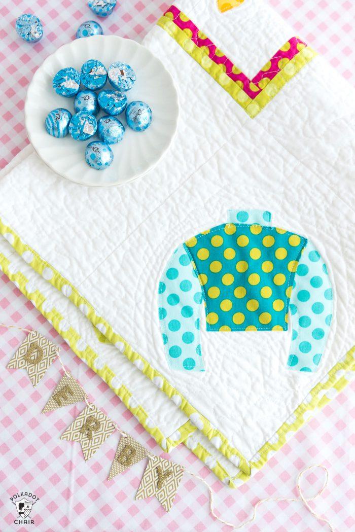 Sewing pattern for a jockey silks table runner