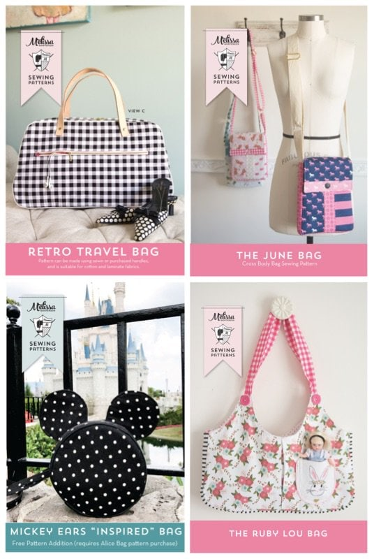 Really cute and easy to make bag and purse sewing patterns. Love the Mickey Mouse bag!