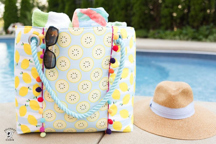 Learn how to sew a cute oversized pool bag with this Oversized Beach Bag Sewing Pattern - so roomy and such a simple free pattern!