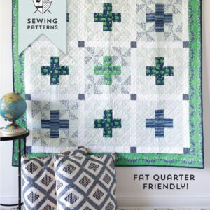 Patchwork Safari Quilt Pattern by Melissa Mortenson featuring Safari Party Fabrics, a cute take on a plus quilt pattern! Simple and fun!