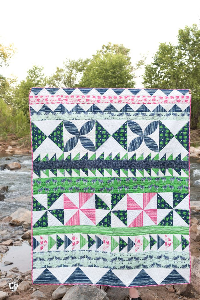 Lots of cute sewing project ideas and quilting patterns and tutorials using Safari Party Fabrics by Melissa Mortenson for Riley Blake Designs