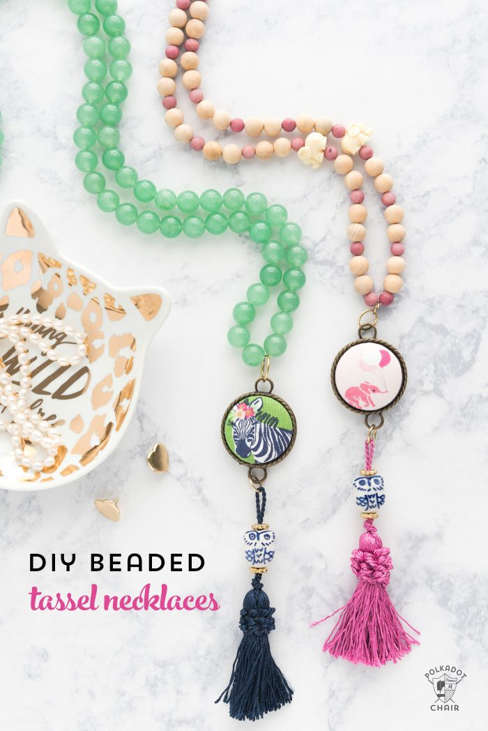 Fun and easy DIY Beaded Tassel necklace with covered button! Learn how to make a tassel necklace with this simple jewelry tutorial