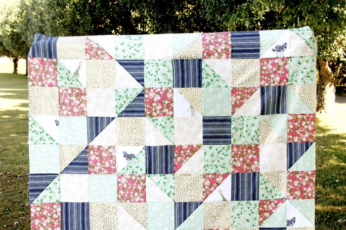 Cute free Lap Quilt Tutorial, the Hidden Safari Party quilt -