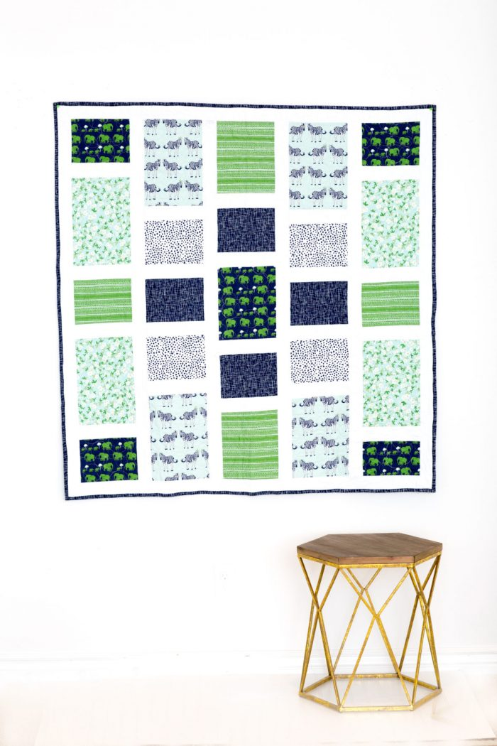 Saturday Afternoon Quilt Pattern in Safari Party Fabrics from Riley Blake Designs - a great quilt pattern for a beginning quilter