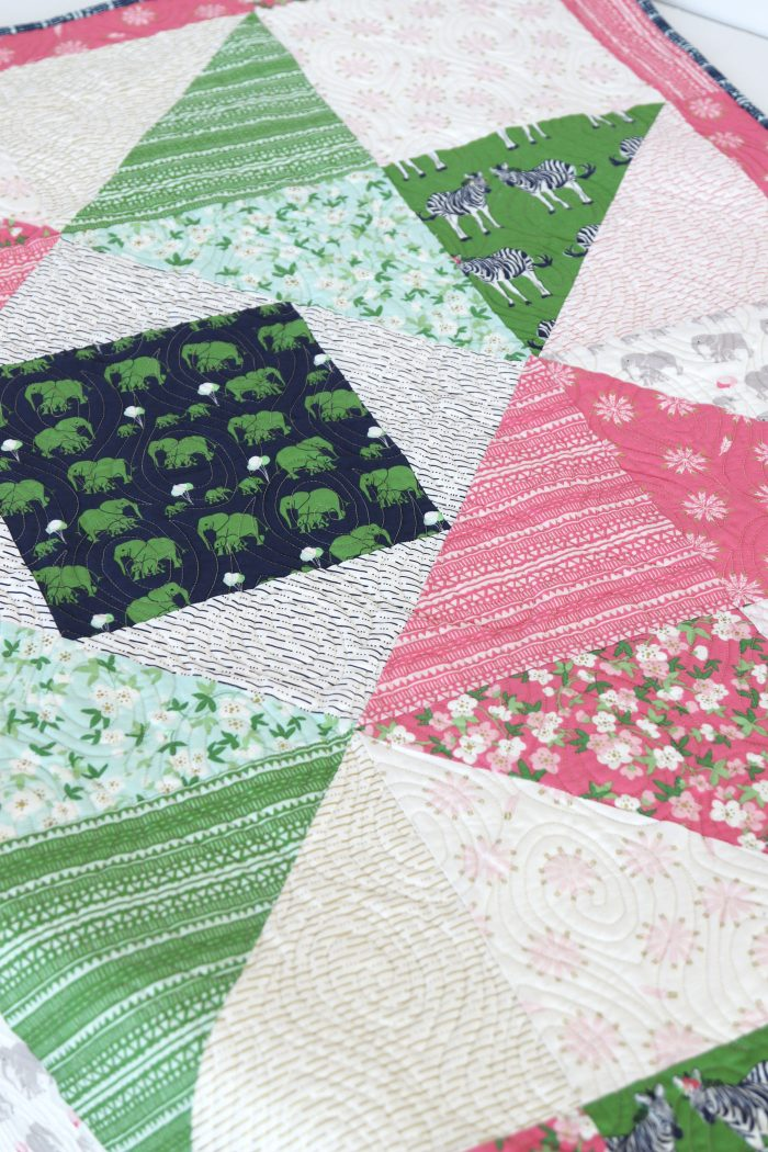 Patchwork Star Baby Quilt Tutorial by Amy Smart of Diary of a Quilter - uses Safari Party Fabrics by Riley Blake Designs, SO CUTE!!