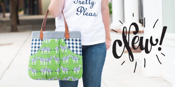 The March Bag sewing pattern has been updated and re-released. It's a fun handbag sewing pattern with a large outside kangaroo style pocket and 4 different handle styles. #sewingpattern #bagpattern #handbagpattern #pursepattern #polkadotchair #melissamortenson #rileyblake #safariparty