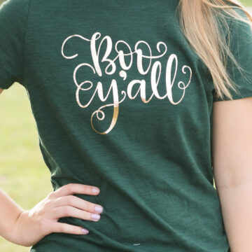 How to make cute Halloween t shirts with iron ons and a review of the new Cricut EasyPress machine. Includes free cut files inspired by Disney's Haunted Mansion themed t-shirts for Halloween