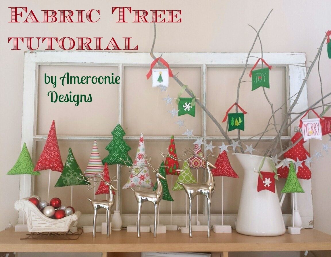 Fabric Tree Tutorial by Ameroonie Designs - such cute DIY fabric Christmas trees