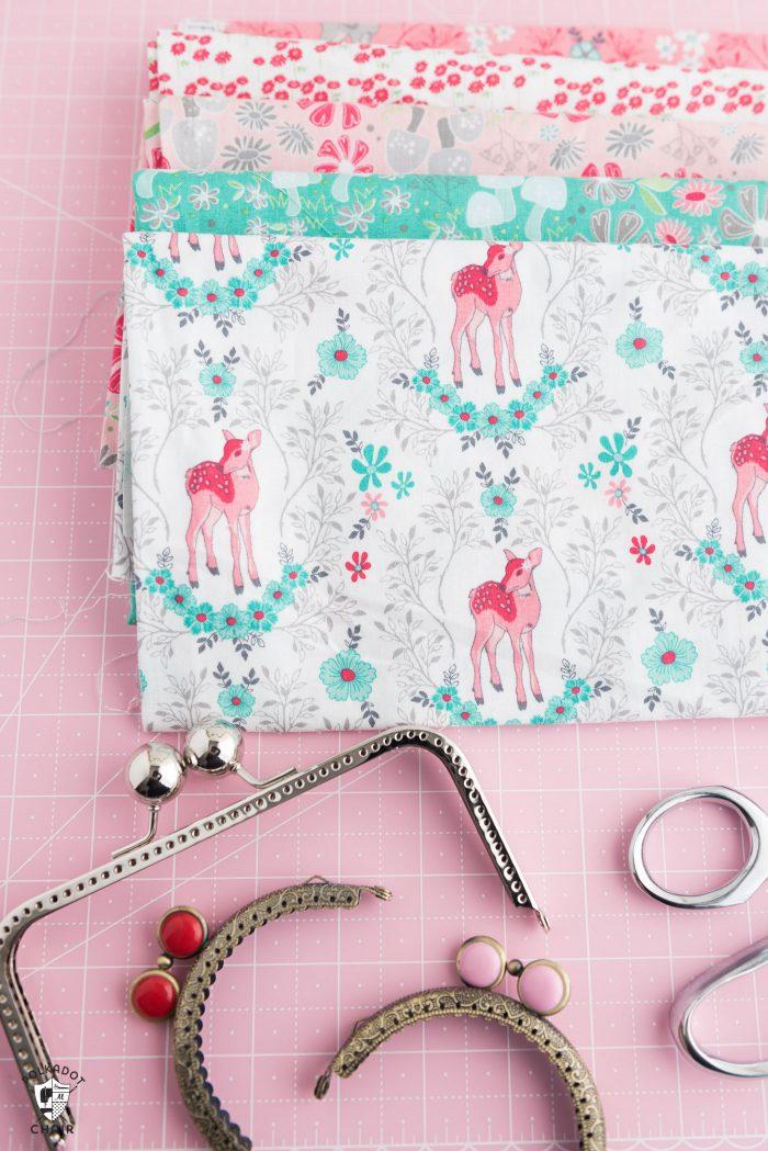 Fabric on pink cutting mat