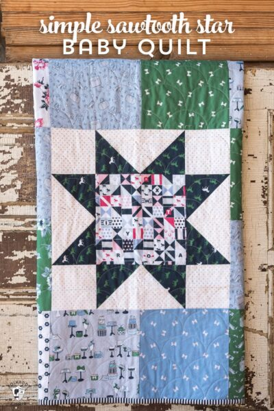 Free pattern for a Simple Sawtooth Star Baby Quilt - so fast to stitch up - great for a beginning quilter!