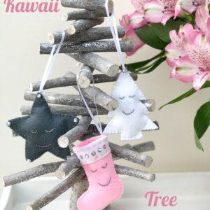 Kawaii Inspired Felt Christmas Ornament Pattern - so cute and easy, such a fun Christmas Craft idea! #christmascraft #christmasornaments #christmascrafts #feltornaments