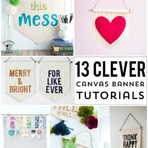 More than 13 DIY Canvas Banner and Pennant Tutorials. So many cute ideas for fun craft projects! #canvasbanner #canvaspennant #DIY #tutorial #diycanvasbanner