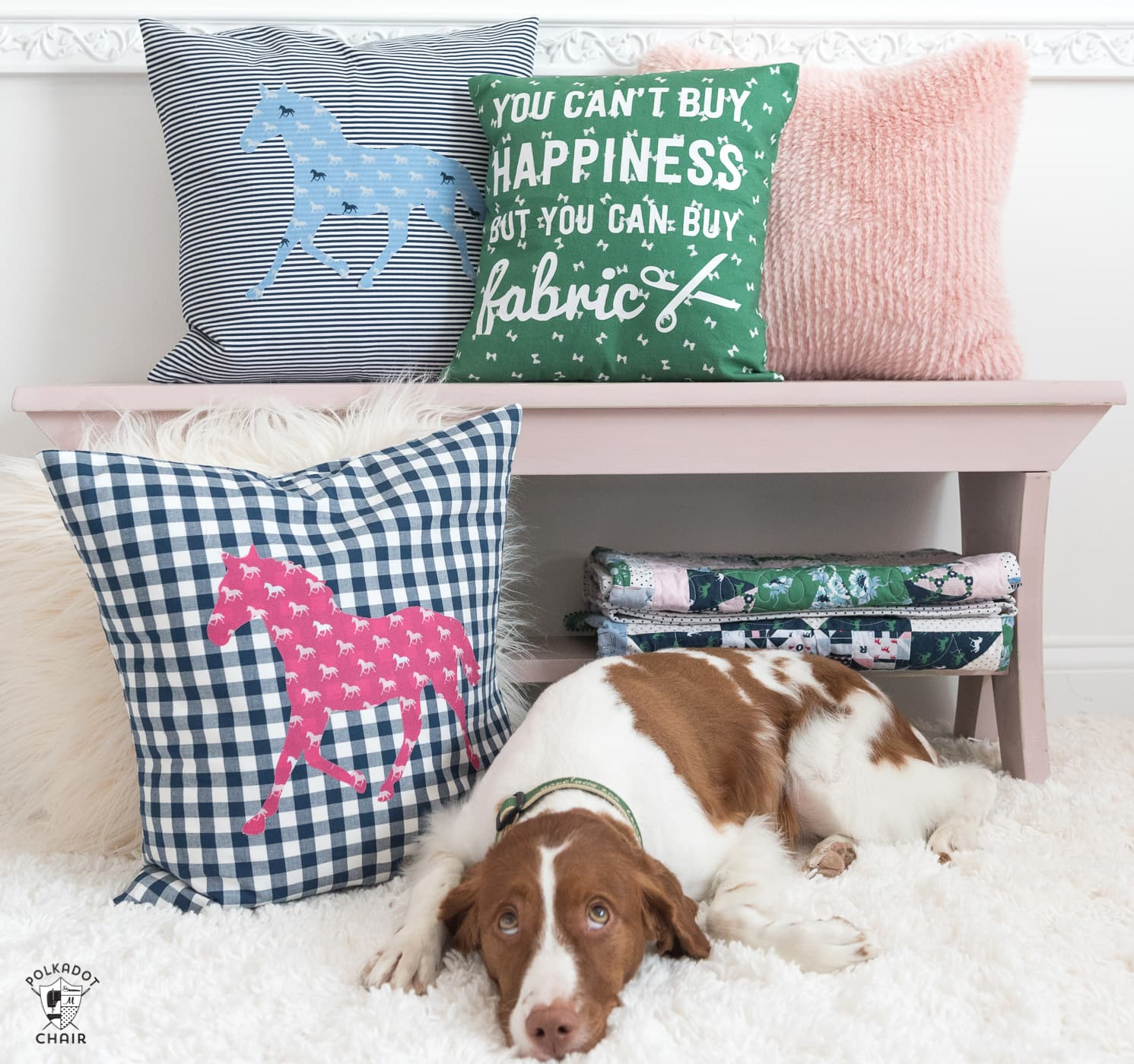 """A DIY Pillow cover that is a great way to spruce up your sewing room decor. Includes a free cricut cut file for the """"fabric happiness"""" saying."""