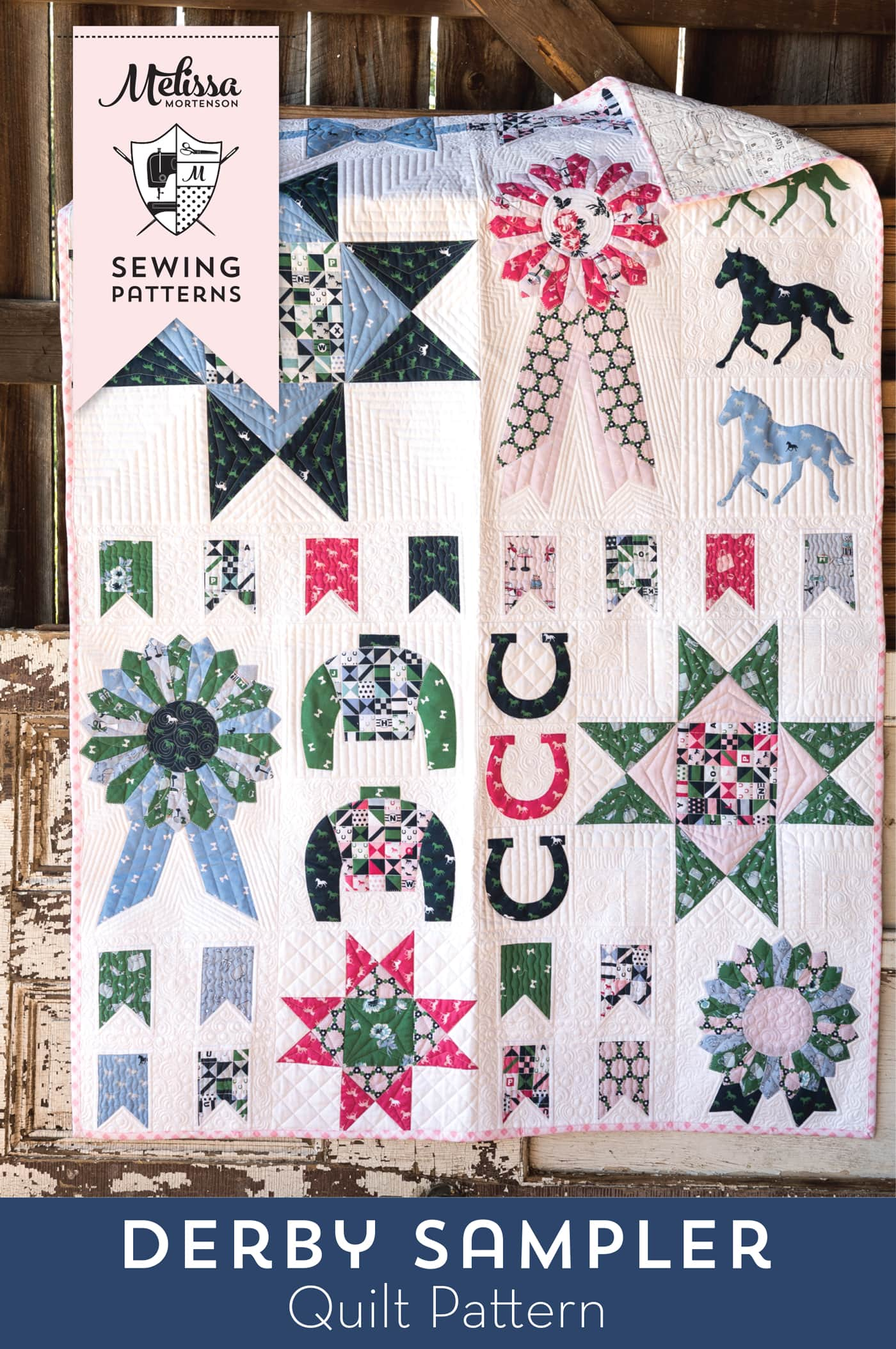 The Derby Sampler Quilt by Melissa Mortenson of polkadotchair.com - a quilt block sampler quilt perfect for Derby. A great quilt for equestrian and horse lovers!