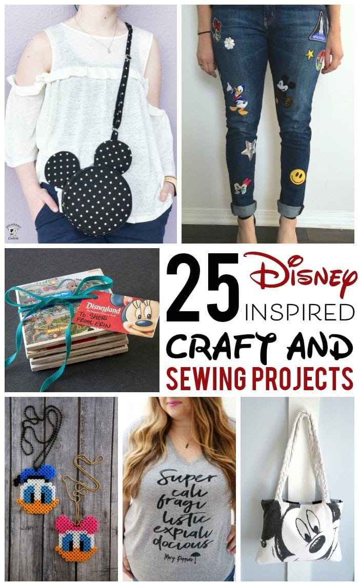 collage image of disney craft projects