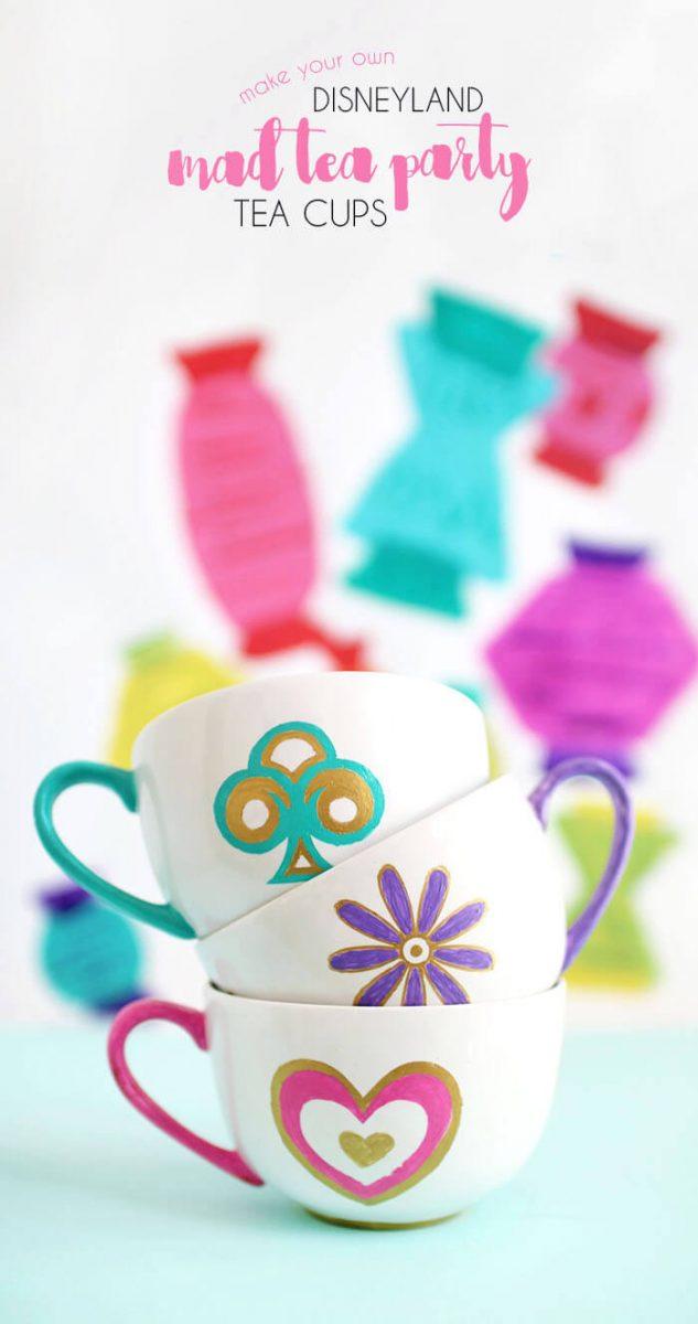 DIY Disney Teacups Mugs made with sharpies