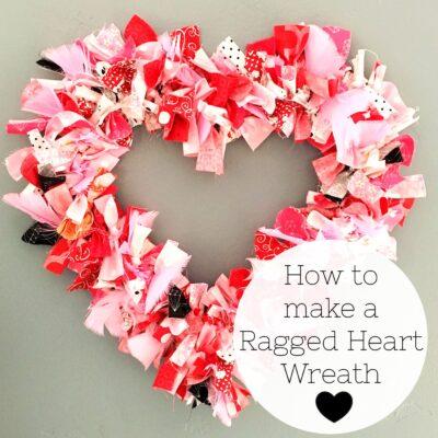 How to make a Valentine's Heart Fabric Rag Wreath- a cute Valentine's Day Craft idea. Rag Wreath Tutorial #ValentinesDayCrafts #DIYWreath #RagWreath #FabricWreathTutorial