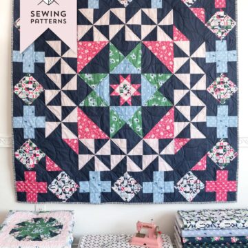 Patchwork Paddock quilt pattern, a fun graphic medallion style quilt pattern by melissa mortenson of polkadotchair.com featuring Derby Day fabrics