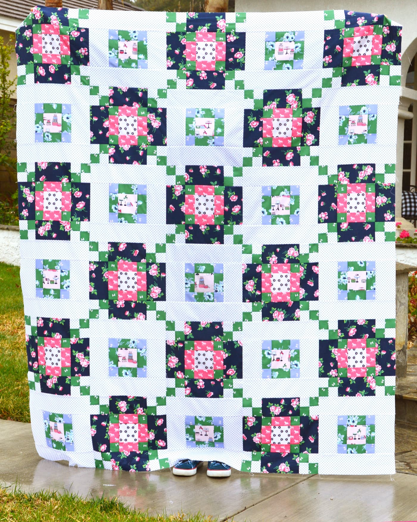 new quilt patterns, Across the Board Quilt pattern by Jedi Craft Girl, uses Derby Day Fabric by Melissa Mortenson for Riley Blake Designs #quilt #quilts #quiltpatterns #quiltpattern