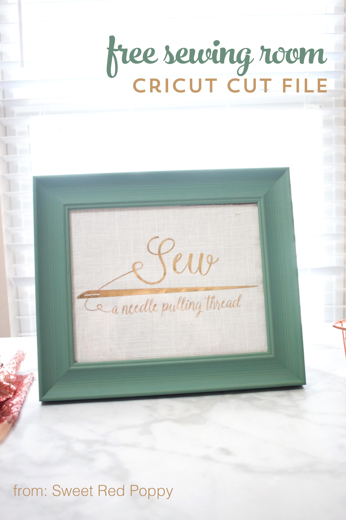Free Sewing SVG files for Cricut Machines- a cute saying for your sewing room decor!