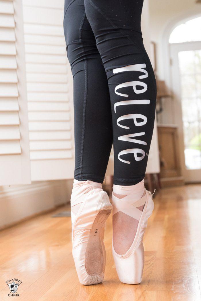 Ballet words ironed onto leggings with Cricut SportFlex