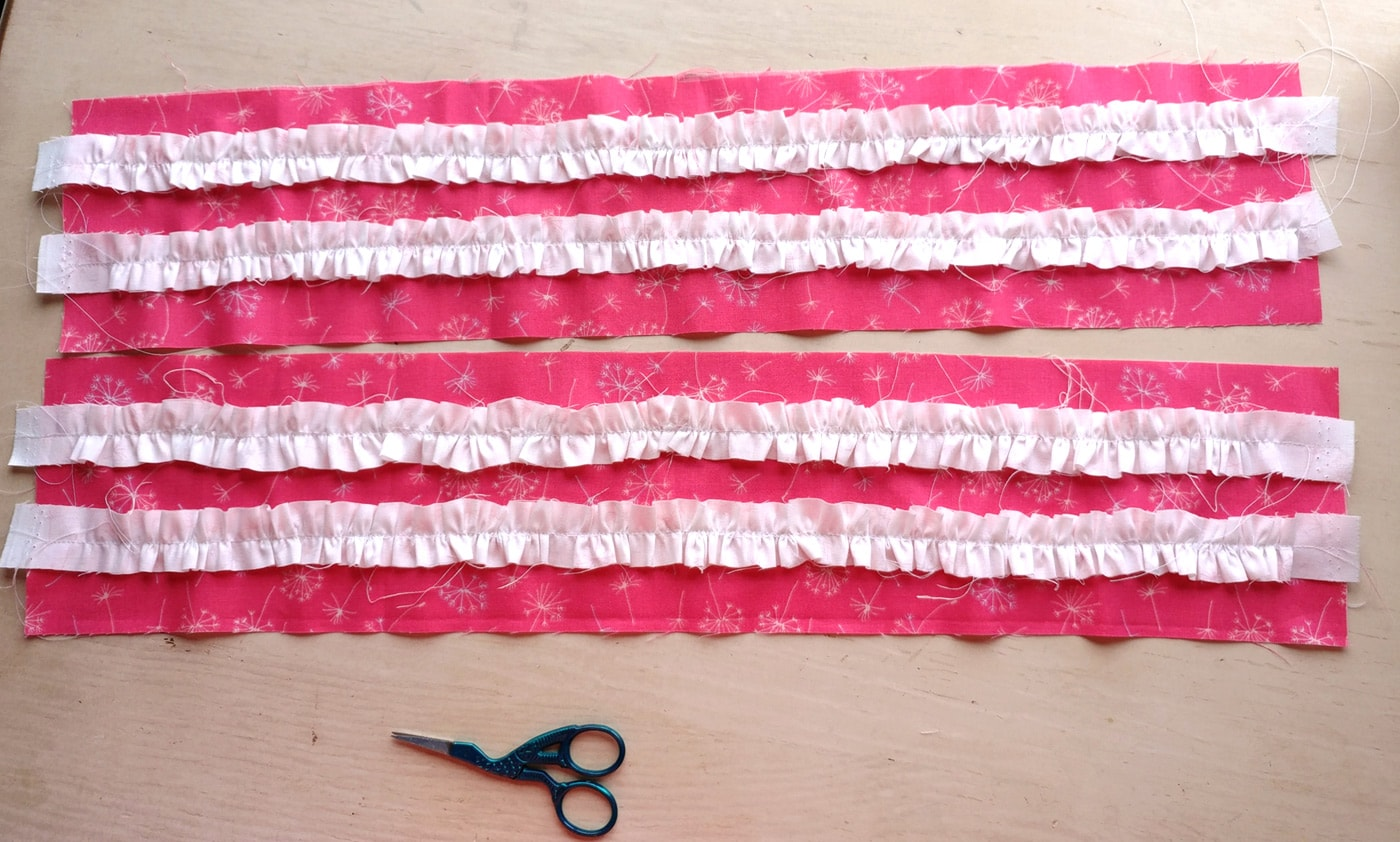 Attaching ruffles to the side of the doll quilt tutorial