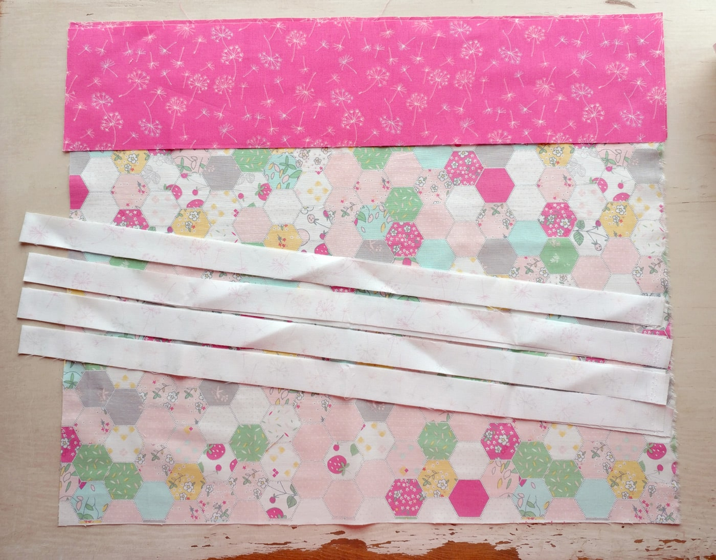 Adding ruffle strips to baby quilt