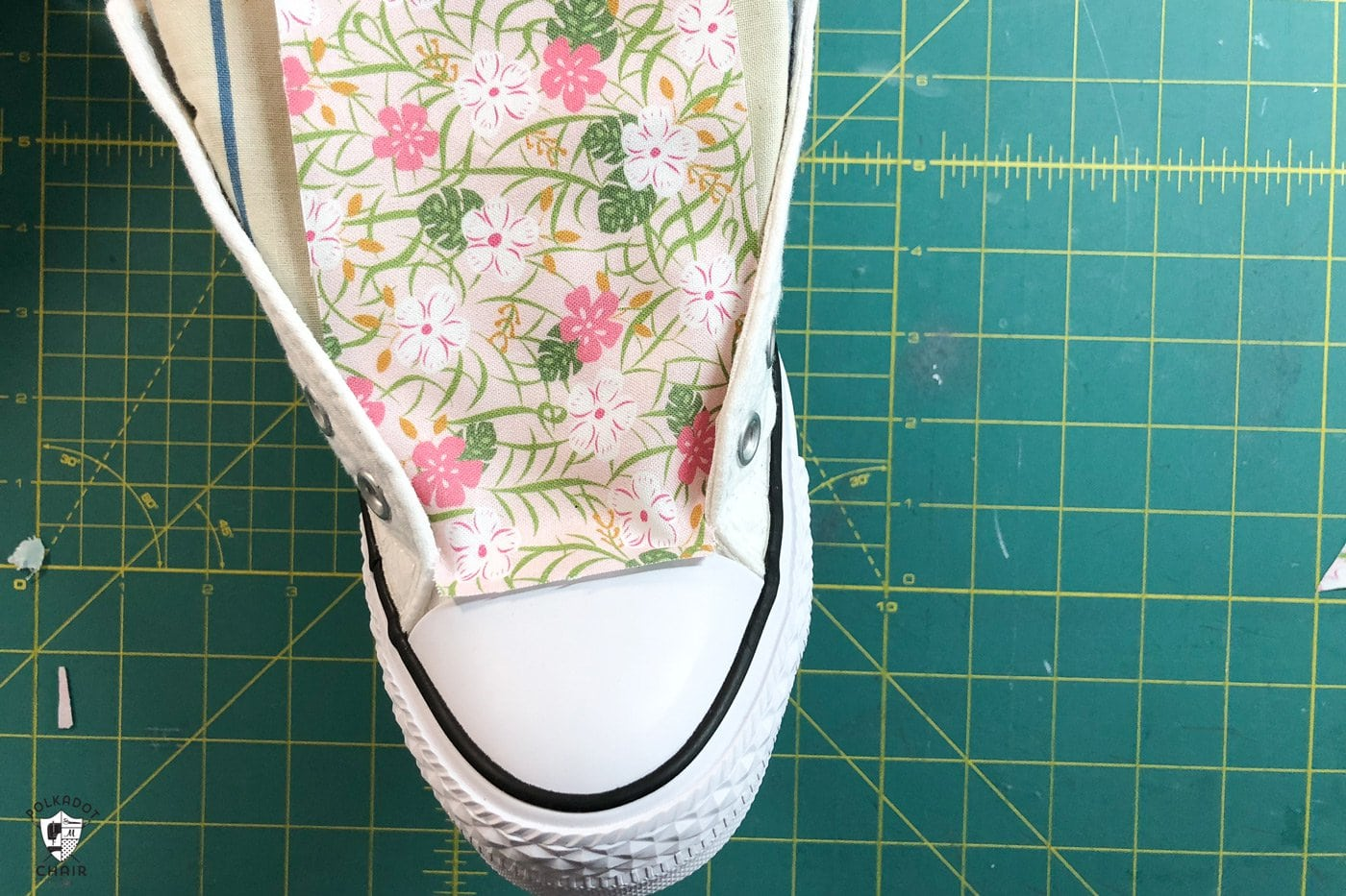 test fit the fabric onto shoes