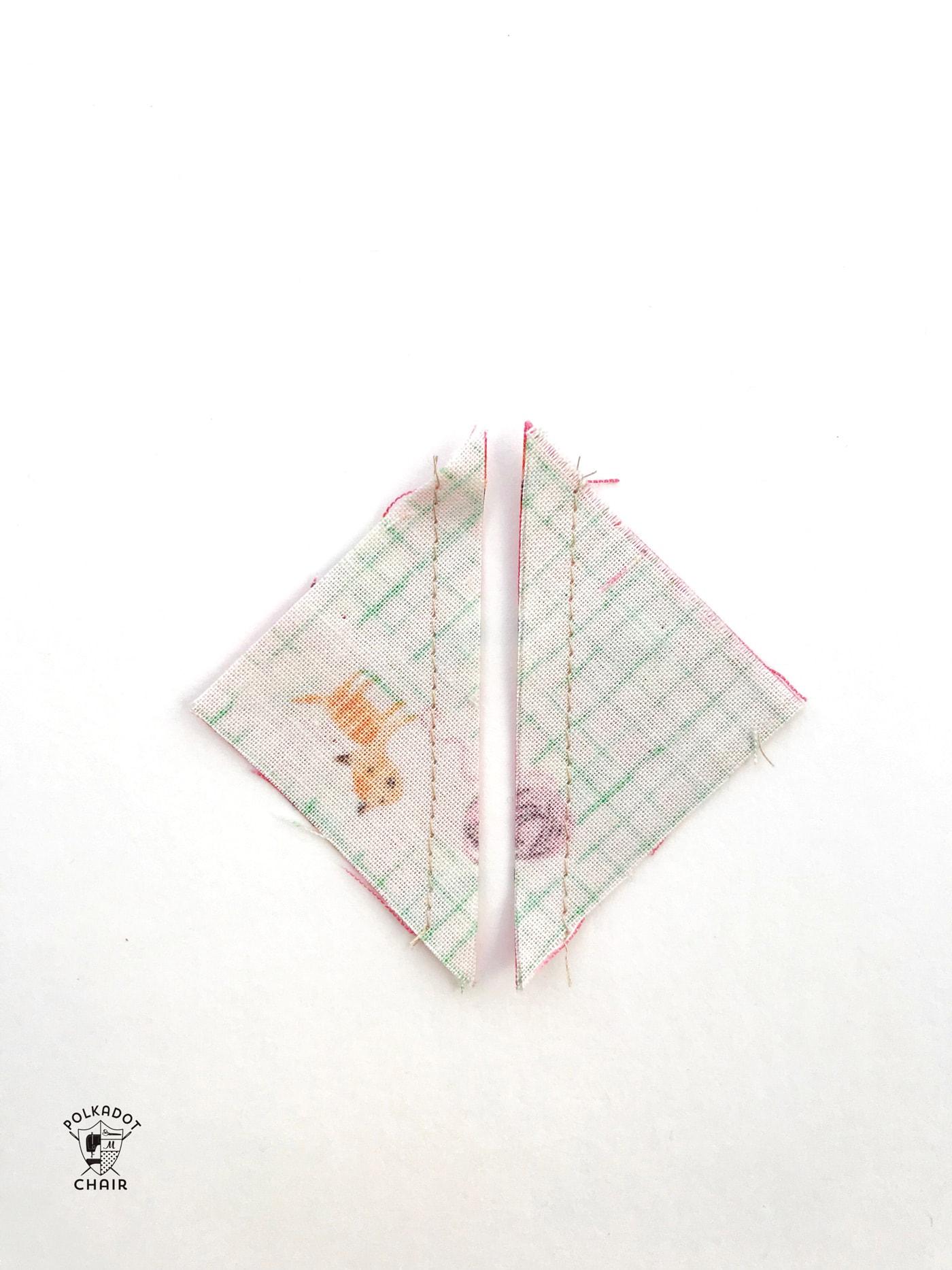 constructing the mini churn dash quilt block