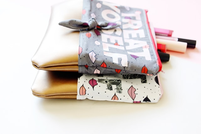 zippered pouches with leather bottoms made by see kate sew