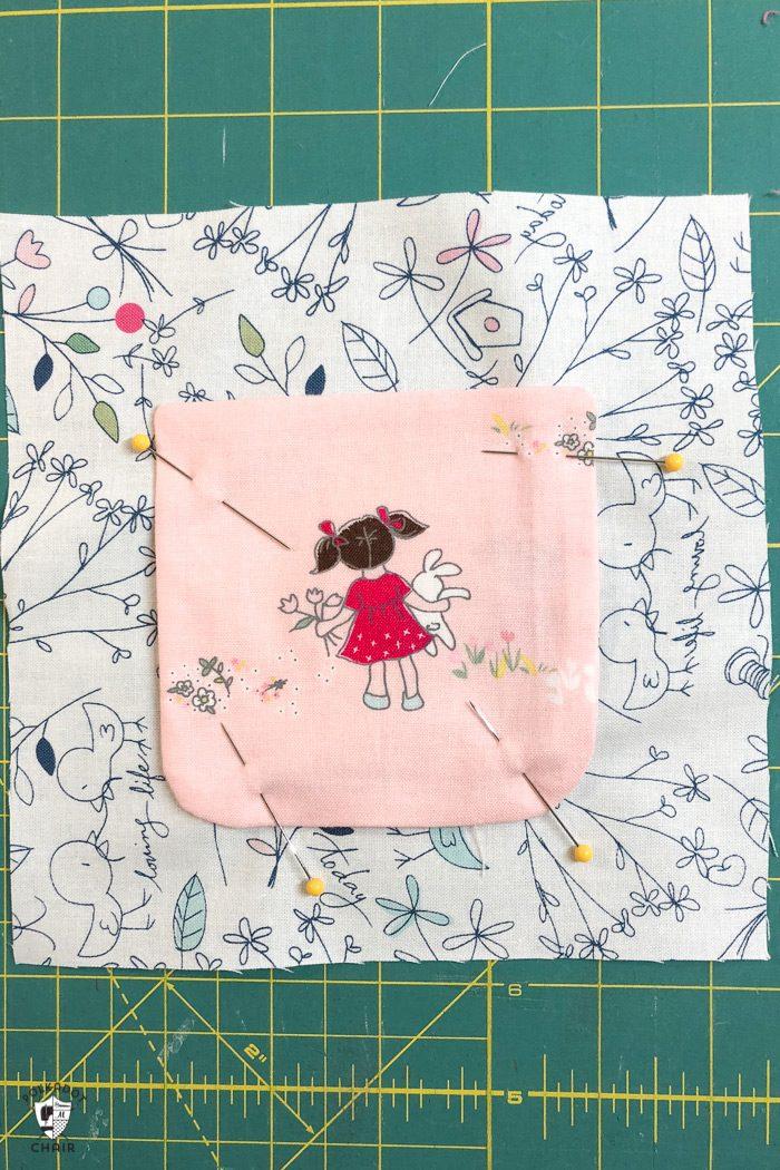 fabric on cutting mat