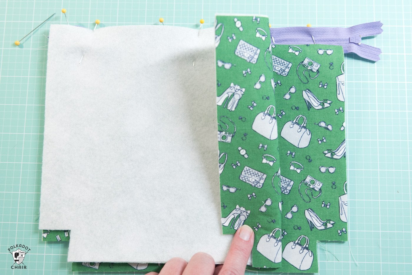 zippered pouch tutorial in progress on cutting mat