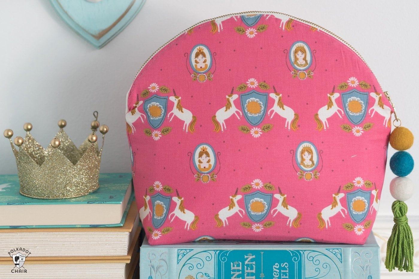 makeup bag on books
