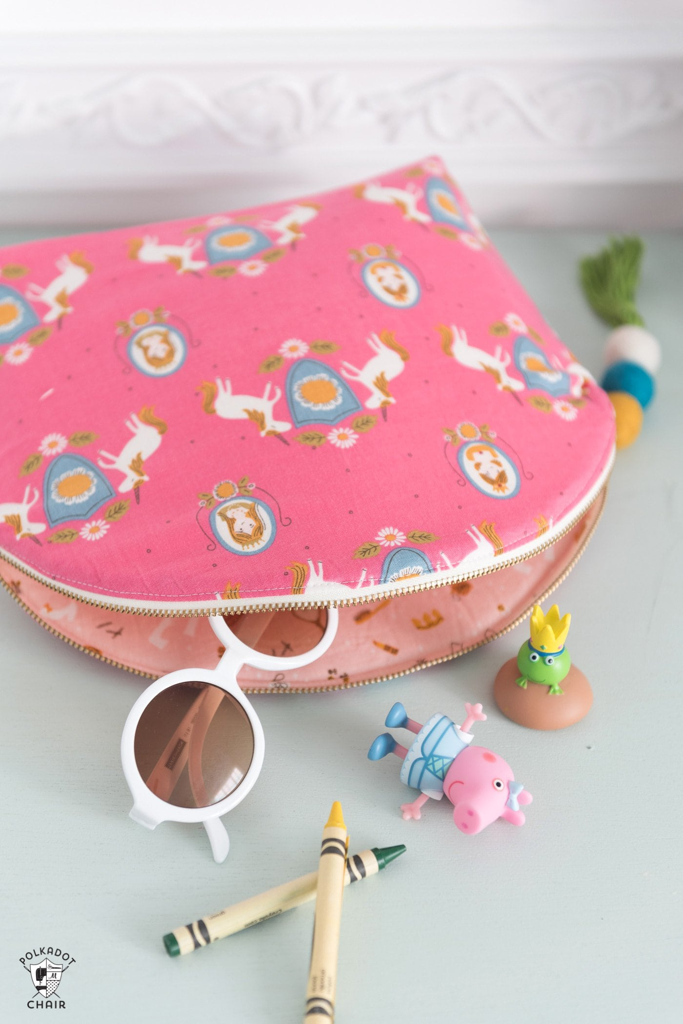 curved bag with toys