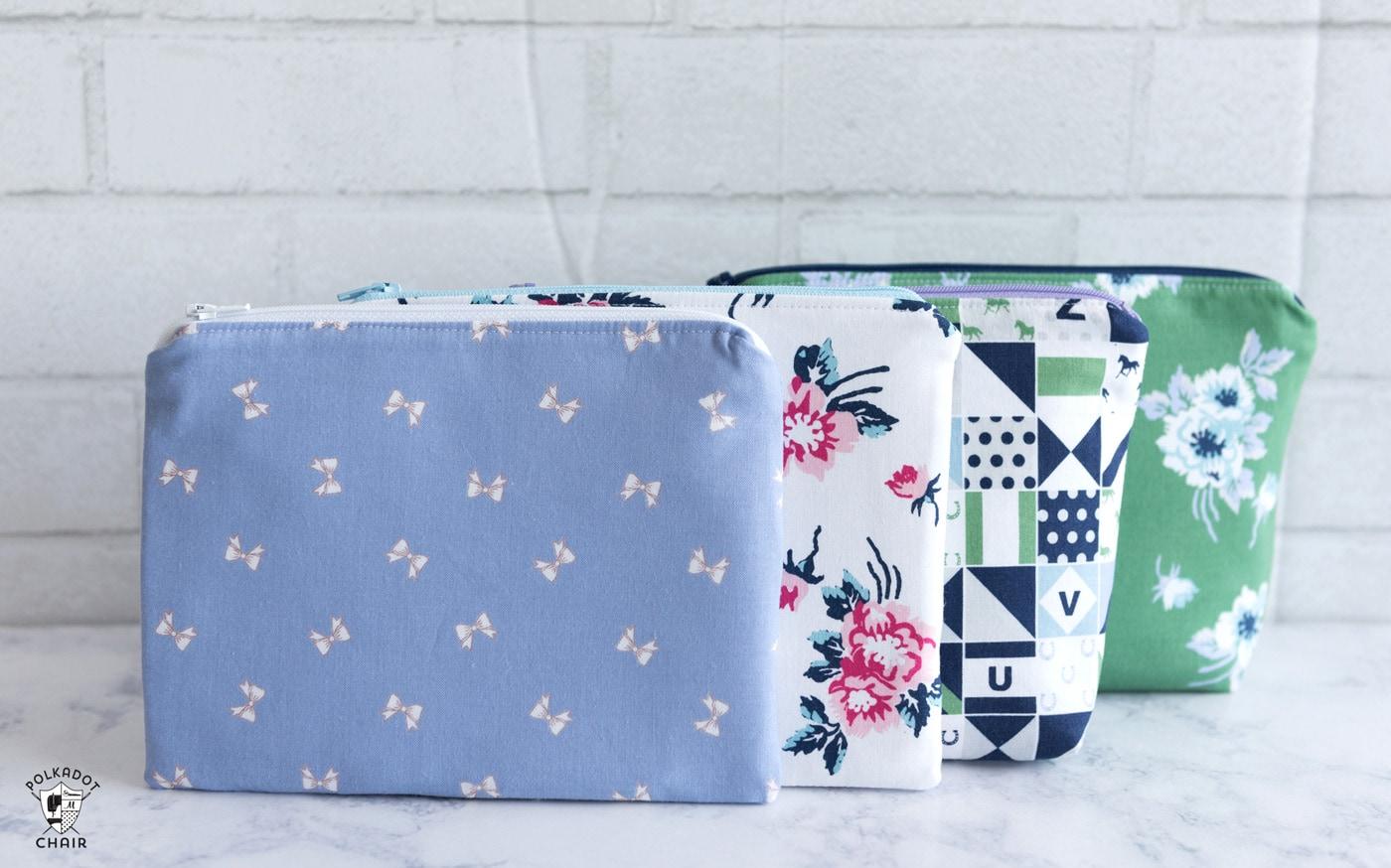 sewn zipper pouches