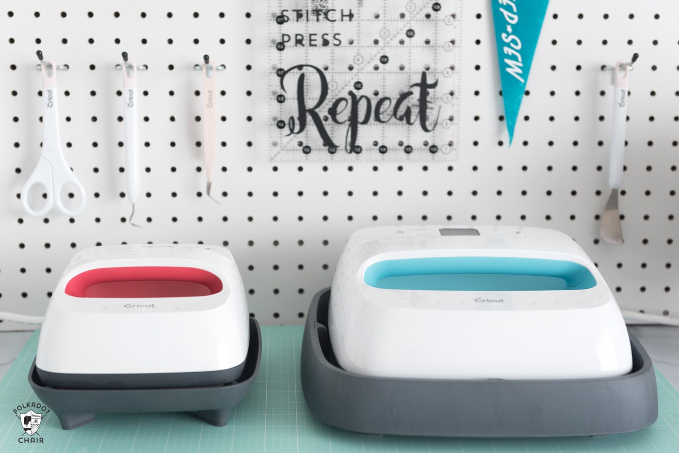 Cricut EasyPress on ironing board