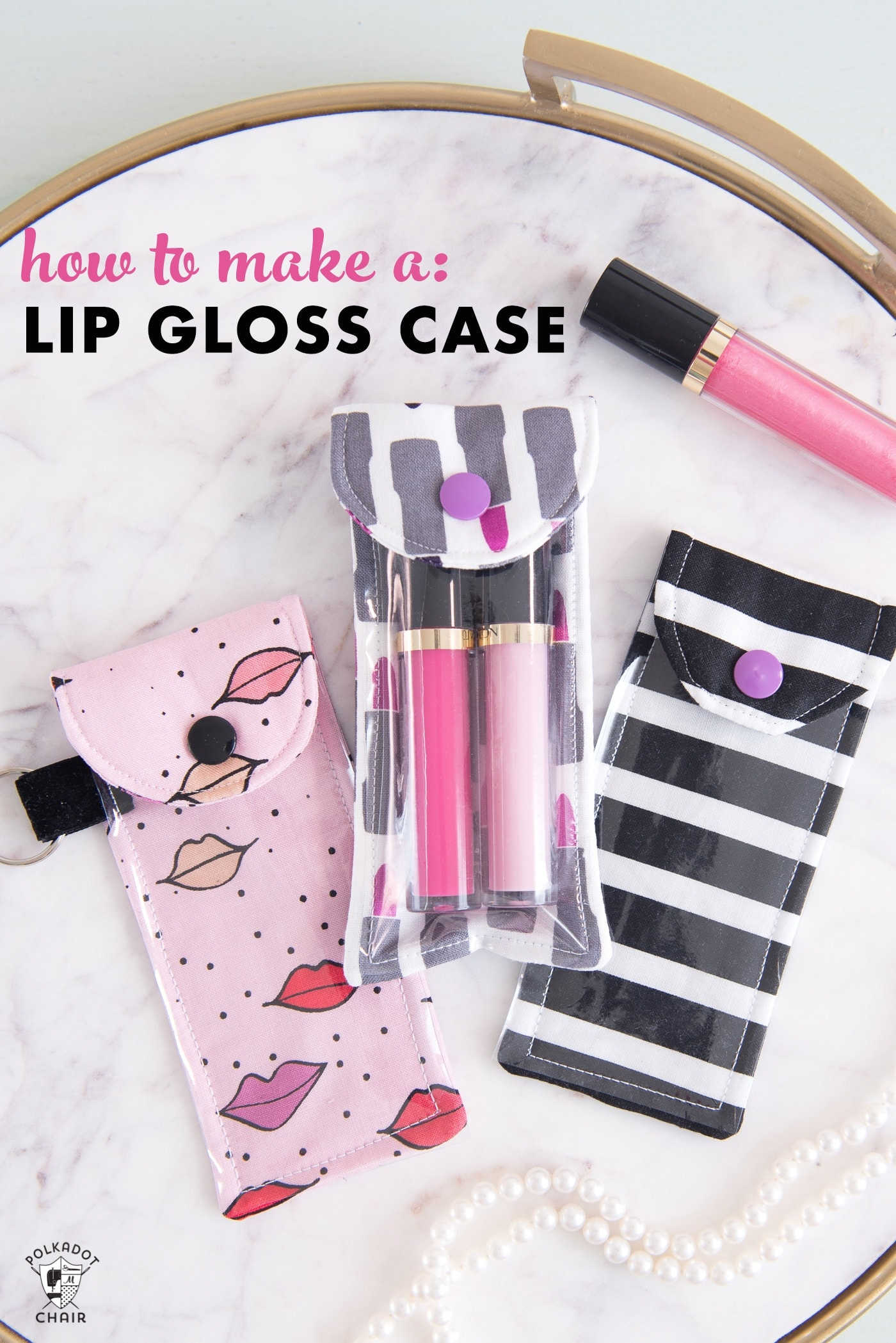 lip gloss pouch on marble tabletop